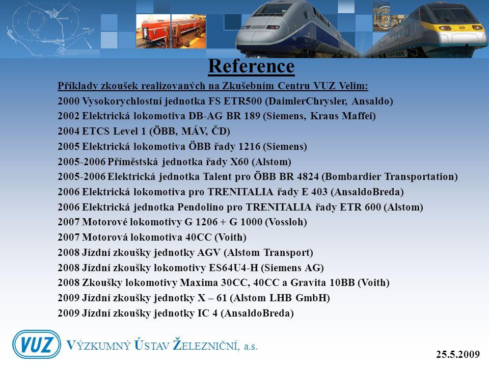 Příklady zkoušek realizovaných na Zkušebním Centru VUZ Velim: 2000 Vysokorychlostní jednotka FS ETR500 (DaimlerChrysler, Ansaldo) 2002 Elektrická loko