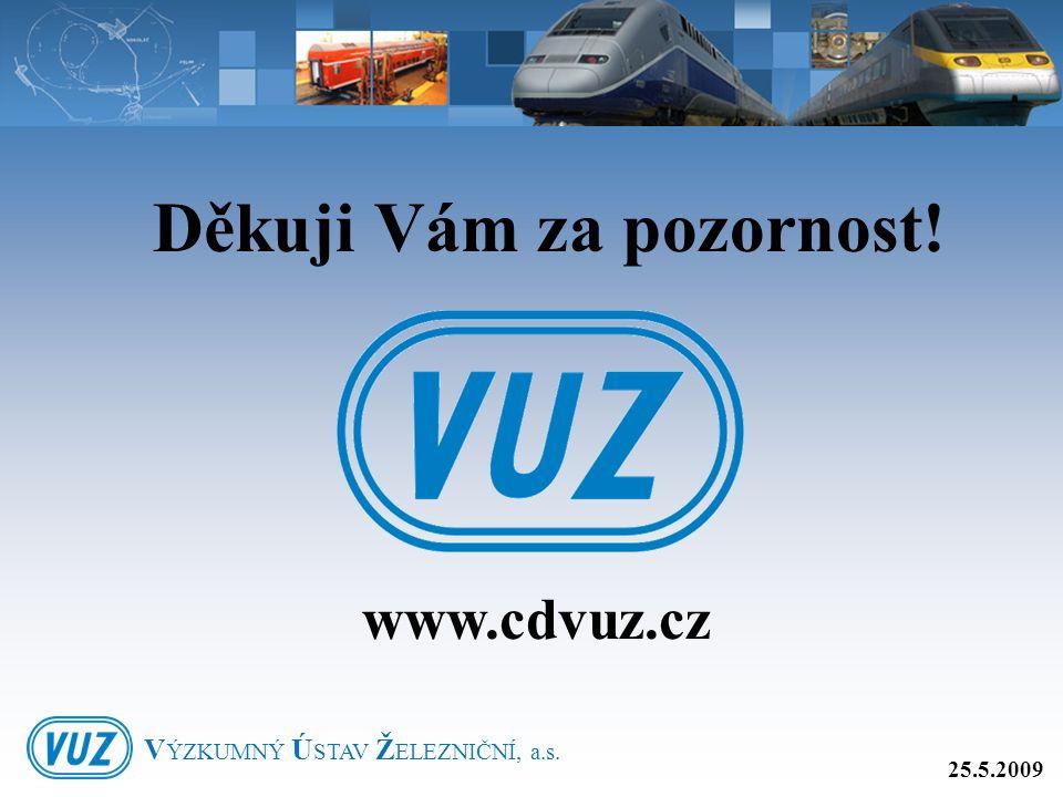 Děkuji Vám za pozornost! www.cdvuz.cz 25.5.2009 V ÝZKUMNÝ Ú STAV Ž ELEZNIČNÍ, a.s.
