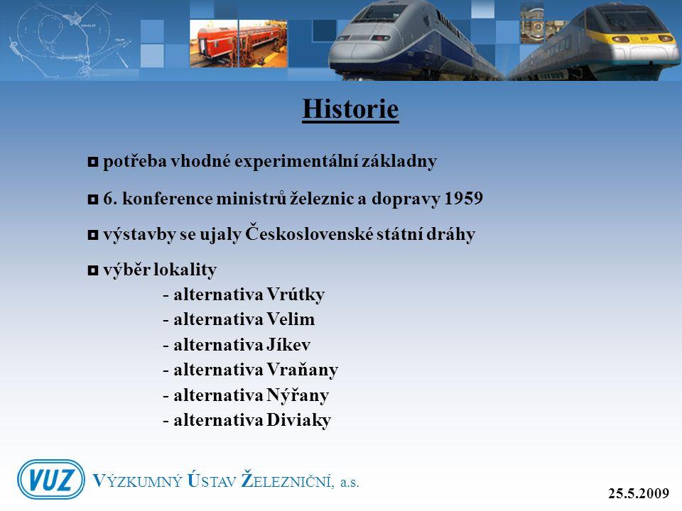  potřeba vhodné experimentální základny  6. konference ministrů železnic a dopravy 1959  výstavby se ujaly Československé státní dráhy  výběr loka