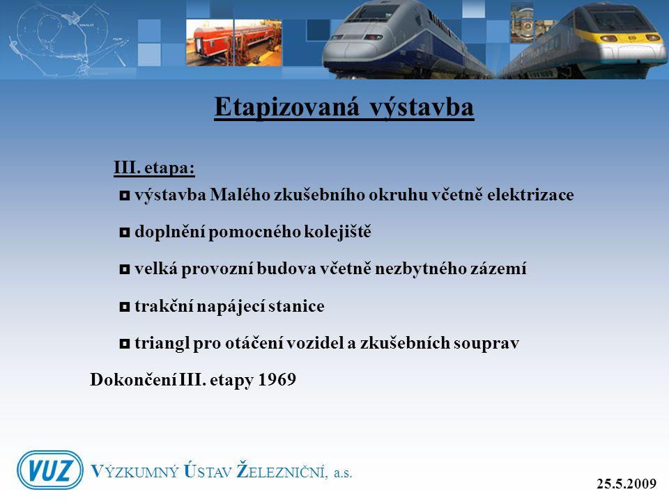 III. etapa:  výstavba Malého zkušebního okruhu včetně elektrizace  doplnění pomocného kolejiště  velká provozní budova včetně nezbytného zázemí  t