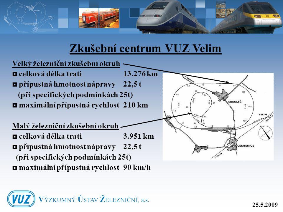 Velký železniční zkušební okruh  celková délka trati 13.276 km  přípustná hmotnost nápravy 22,5 t (při specifických podmínkách 25t)  maximální příp