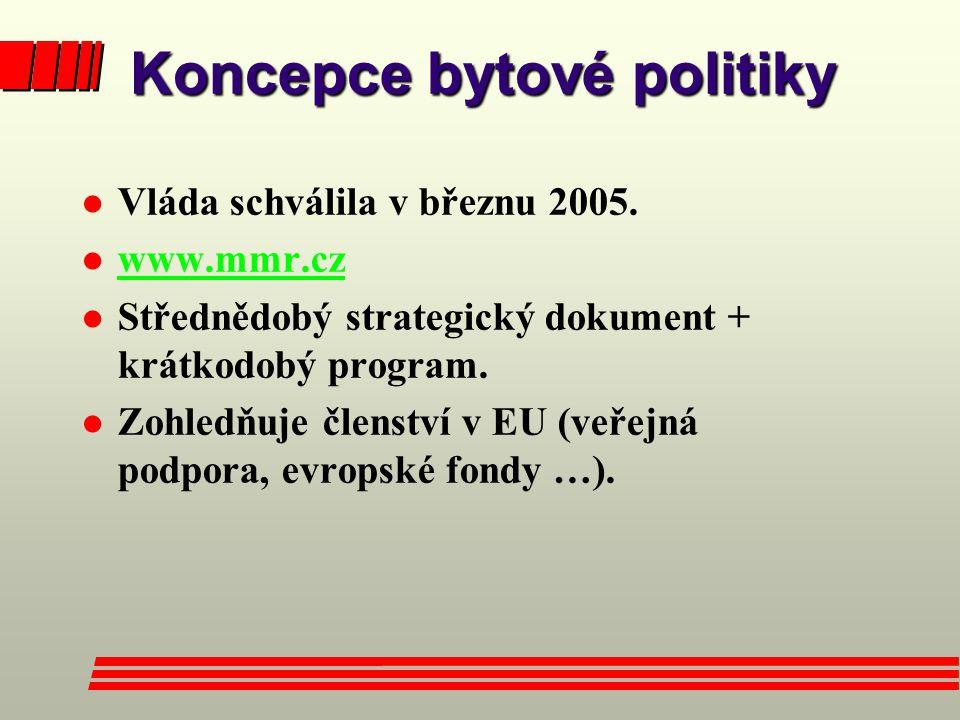 Koncepce bytové politiky l Vláda schválila v březnu 2005. l www.mmr.cz www.mmr.cz l Střednědobý strategický dokument + krátkodobý program. l Zohledňuj