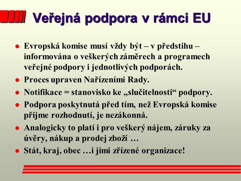 Veřejná podpora v rámci EU l Evropská komise musí vždy být – v předstihu – informována o veškerých záměrech a programech veřejné podpory i jednotlivýc