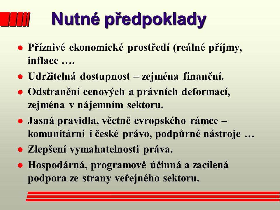 Nutné předpoklady Nutné předpoklady l Příznivé ekonomické prostředí (reálné příjmy, inflace ….