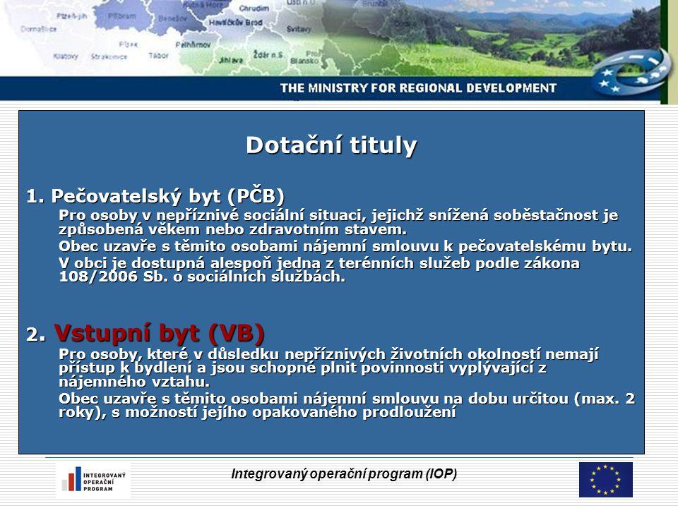 Integrovaný operační program (IOP) Dotační tituly 1. Pečovatelský byt (PČB) Pro osoby v nepříznivé sociální situaci, jejichž snížená soběstačnost je z