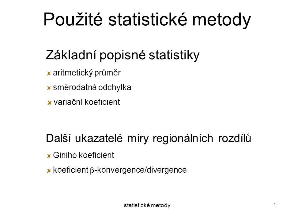 statistické metody1 Použité statistické metody Základní popisné statistiky aritmetický průměr směrodatná odchylka variační koeficient Další ukazatelé