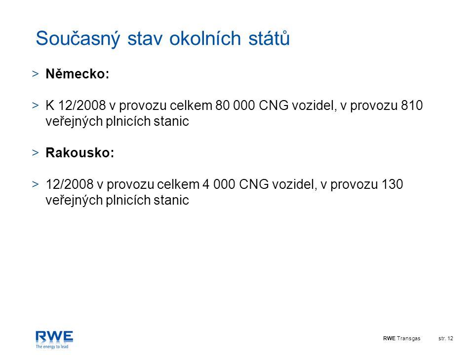 RWE Transgasstr. 12 Současný stav okolních států >Německo: >K 12/2008 v provozu celkem 80 000 CNG vozidel, v provozu 810 veřejných plnicích stanic >Ra