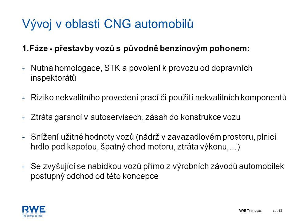 RWE Transgasstr. 13 Vývoj v oblasti CNG automobilů 1.Fáze - přestavby vozů s původně benzinovým pohonem: -Nutná homologace, STK a povolení k provozu o