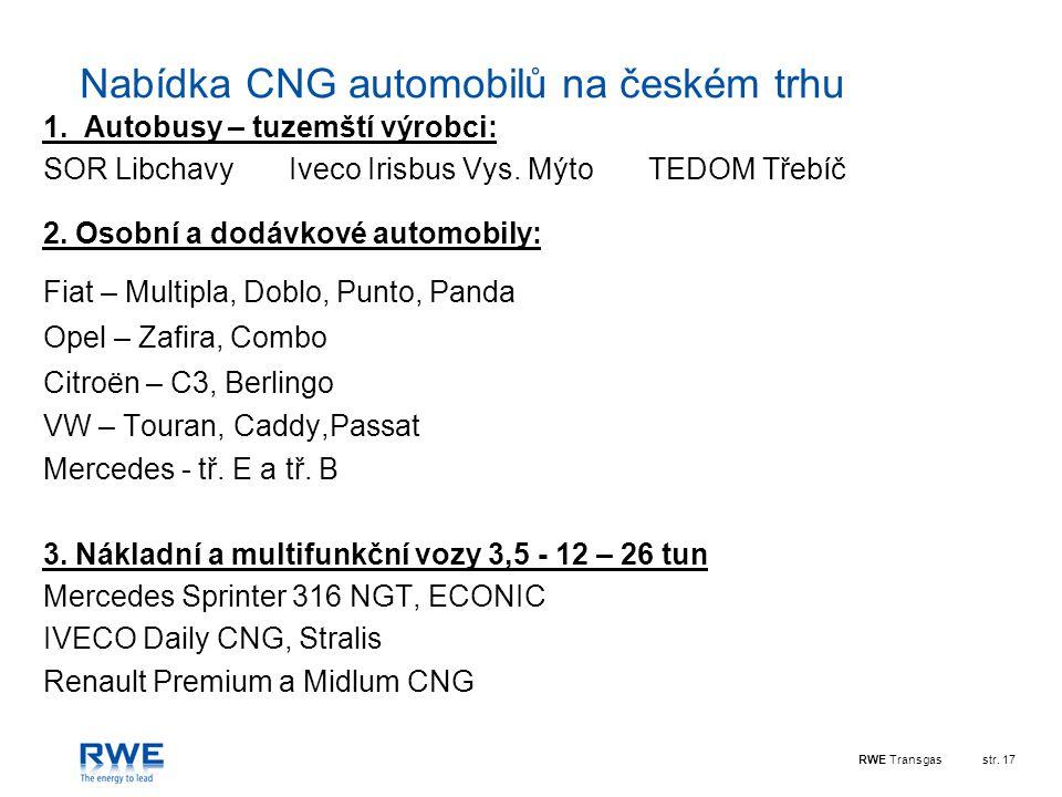 RWE Transgasstr. 17 Nabídka CNG automobilů na českém trhu 1. Autobusy – tuzemští výrobci: SOR Libchavy Iveco Irisbus Vys. Mýto TEDOM Třebíč 2. Osobní