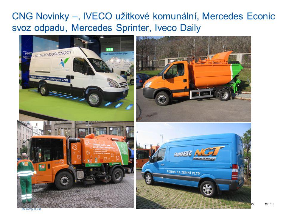 RWE Transgasstr. 19 CNG Novinky –, IVECO užitkové komunální, Mercedes Econic svoz odpadu, Mercedes Sprinter, Iveco Daily