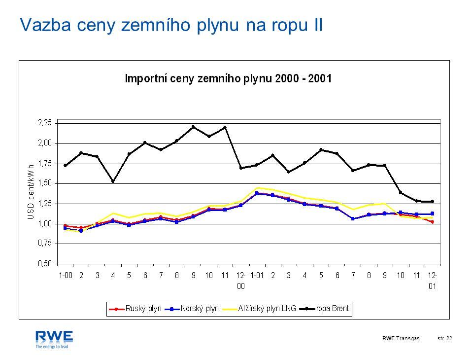 RWE Transgasstr. 22 Vazba ceny zemního plynu na ropu II