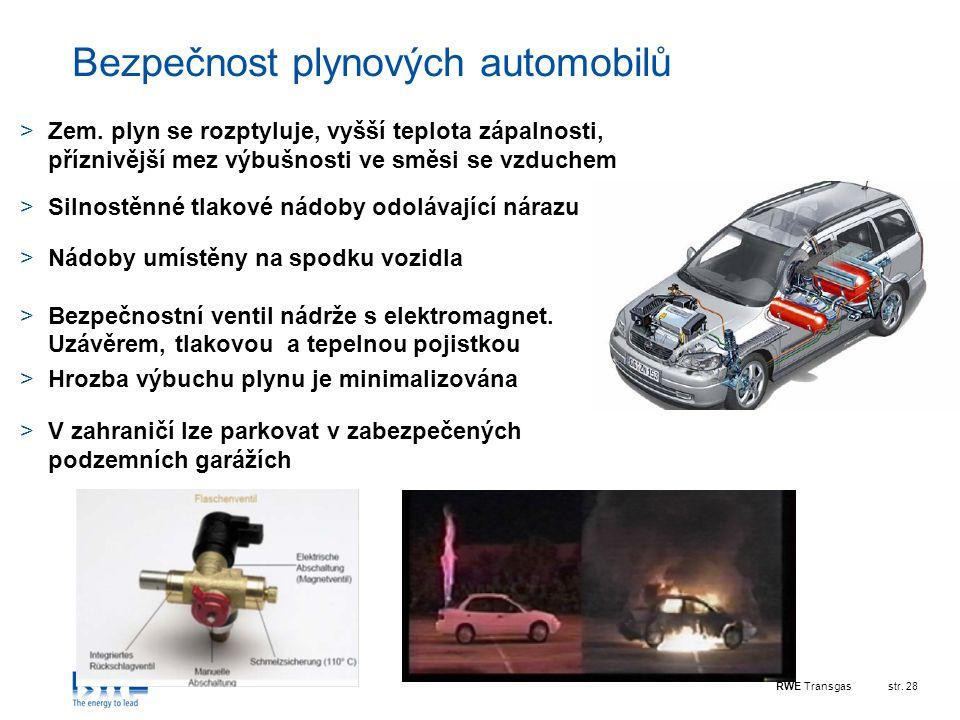 RWE Transgasstr. 28 Bezpečnost plynových automobilů >Zem. plyn se rozptyluje, vyšší teplota zápalnosti, příznivější mez výbušnosti ve směsi se vzduche