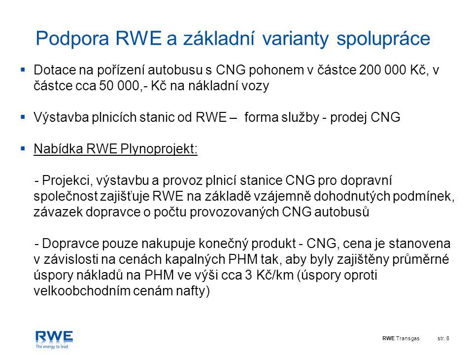 RWE Transgasstr. 6 Podpora RWE a základní varianty spolupráce  Dotace na pořízení autobusu s CNG pohonem v částce 200 000 Kč, v částce cca 50 000,- K