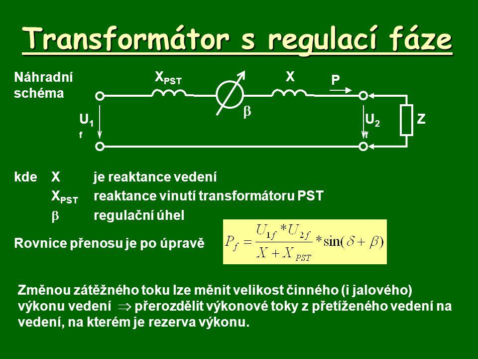 Transformátor s regulací fáze Princip Pro Českou republiku se počítá s nepřímou a nesymetrickou regulací.