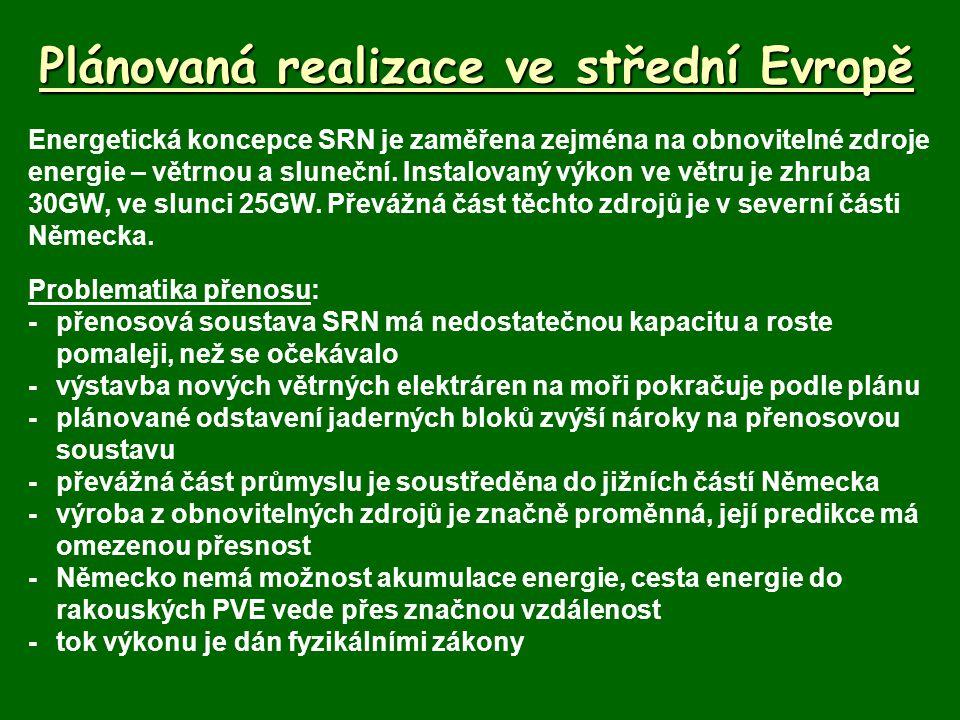 Plánovaná realizace ve střední Evropě Energetická koncepce SRN je zaměřena zejména na obnovitelné zdroje energie – větrnou a sluneční. Instalovaný výk