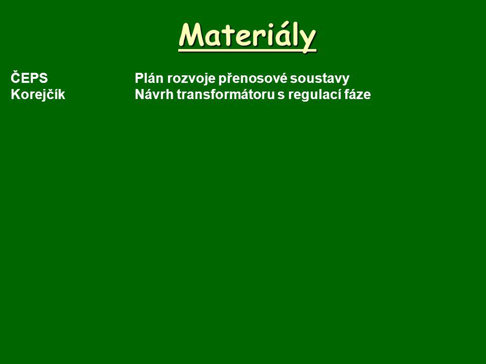 Materiály ČEPSPlán rozvoje přenosové soustavy KorejčíkNávrh transformátoru s regulací fáze