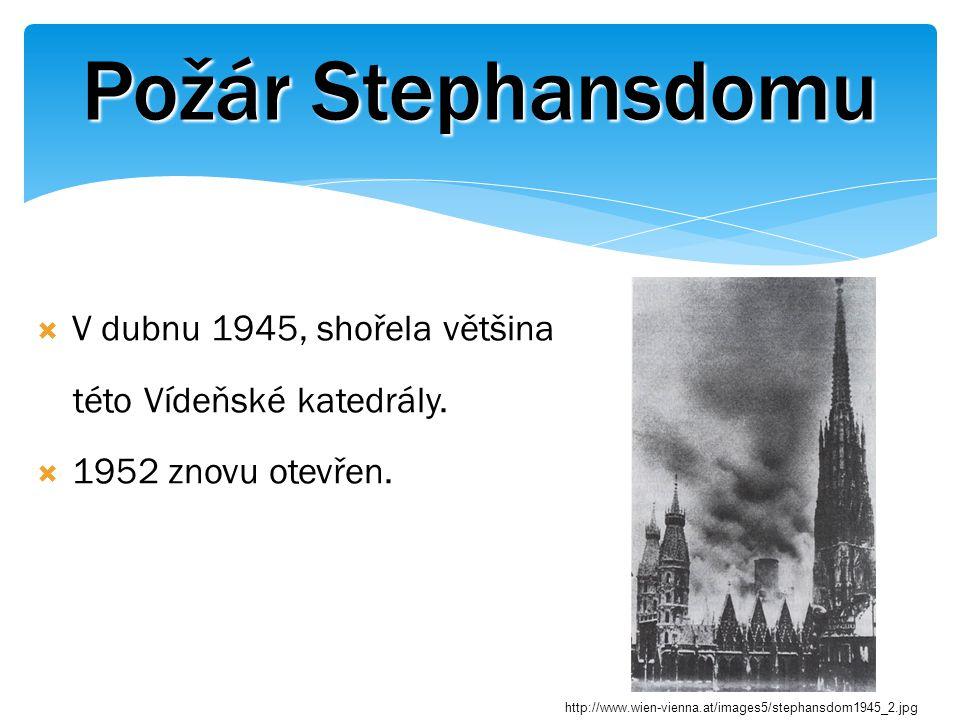 Požár Stephansdomu  V dubnu 1945, shořela většina této Vídeňské katedrály.