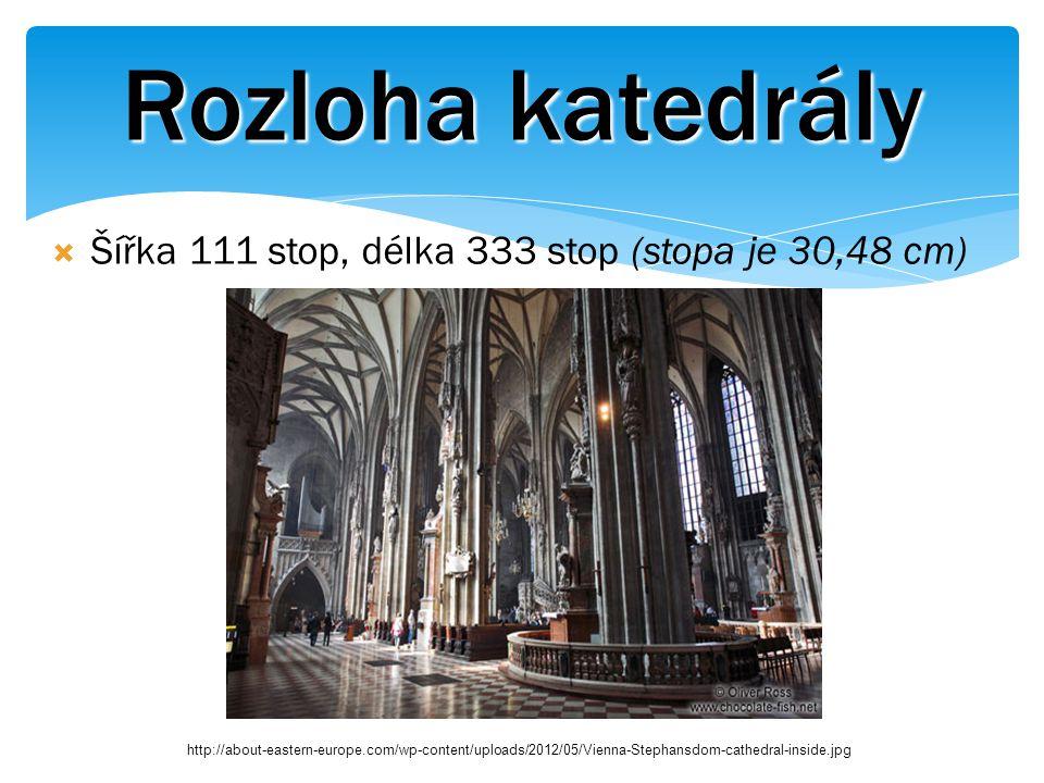 Rozloha katedrály  Šířka 111 stop, délka 333 stop (stopa je 30,48 cm) http://about-eastern-europe.com/wp-content/uploads/2012/05/Vienna-Stephansdom-cathedral-inside.jpg