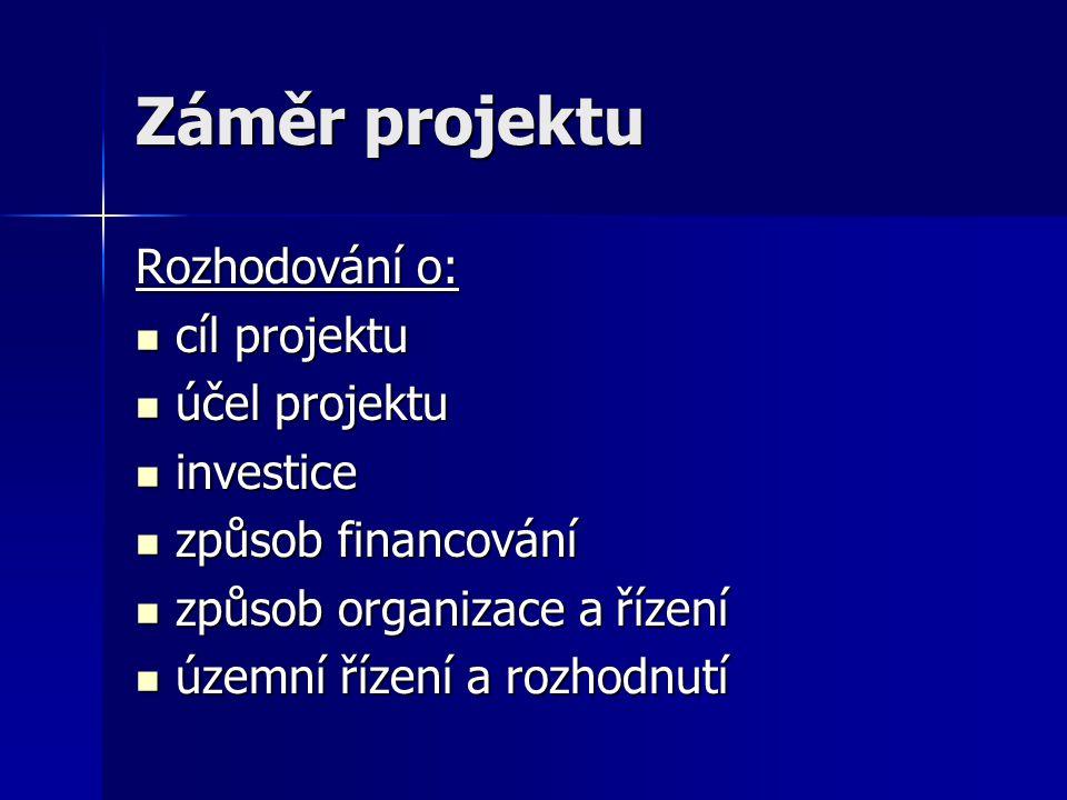 Záměr projektu Rozhodování o:  cíl projektu  účel projektu  investice  způsob financování  způsob organizace a řízení  územní řízení a rozhodnut