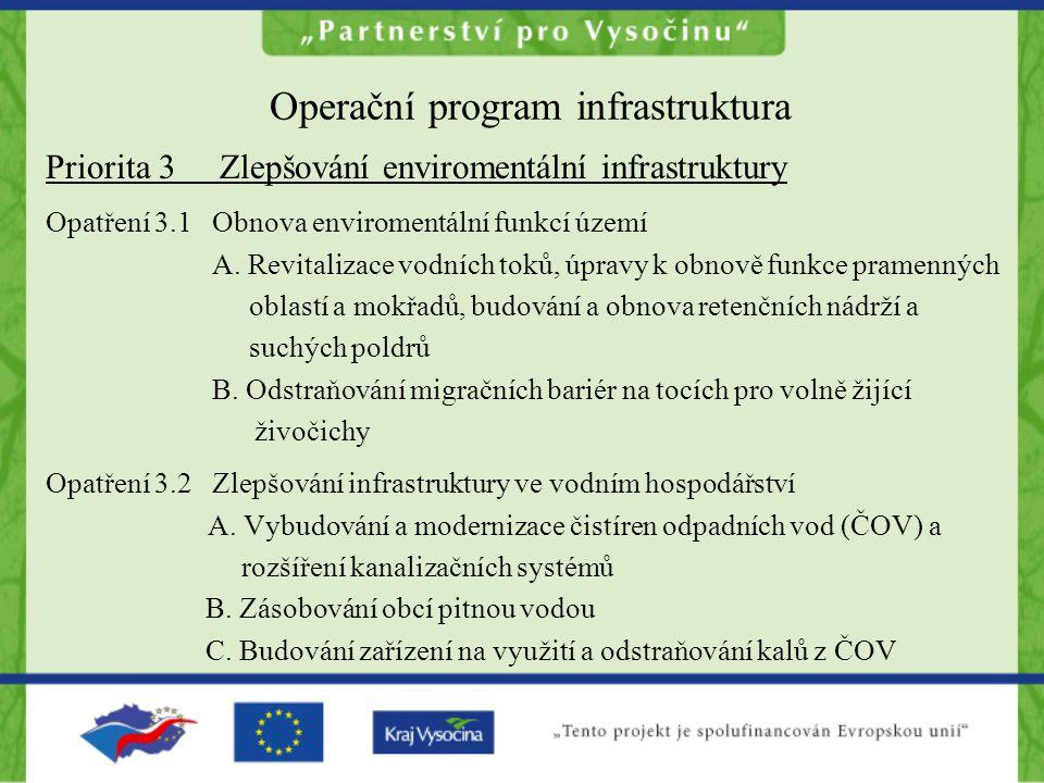 Operační program infrastruktura Priorita 3 Zlepšování enviromentální infrastruktury Opatření 3.1 Obnova enviromentální funkcí území A. Revitalizace vo