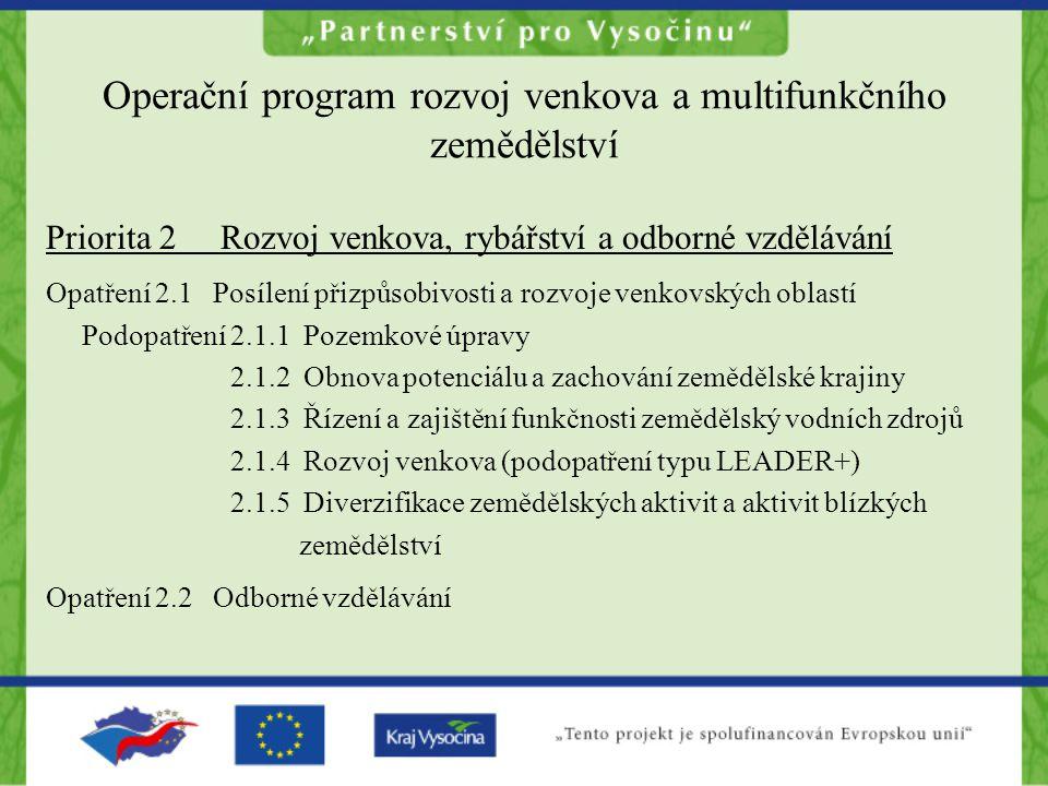 Operační program rozvoj venkova a multifunkčního zemědělství Priorita 2 Rozvoj venkova, rybářství a odborné vzdělávání Opatření 2.1 Posílení přizpůsobivosti a rozvoje venkovských oblastí Podopatření 2.1.1 Pozemkové úpravy 2.1.2 Obnova potenciálu a zachování zemědělské krajiny 2.1.3 Řízení a zajištění funkčnosti zemědělský vodních zdrojů 2.1.4 Rozvoj venkova (podopatření typu LEADER+) 2.1.5 Diverzifikace zemědělských aktivit a aktivit blízkých zemědělství Opatření 2.2 Odborné vzdělávání