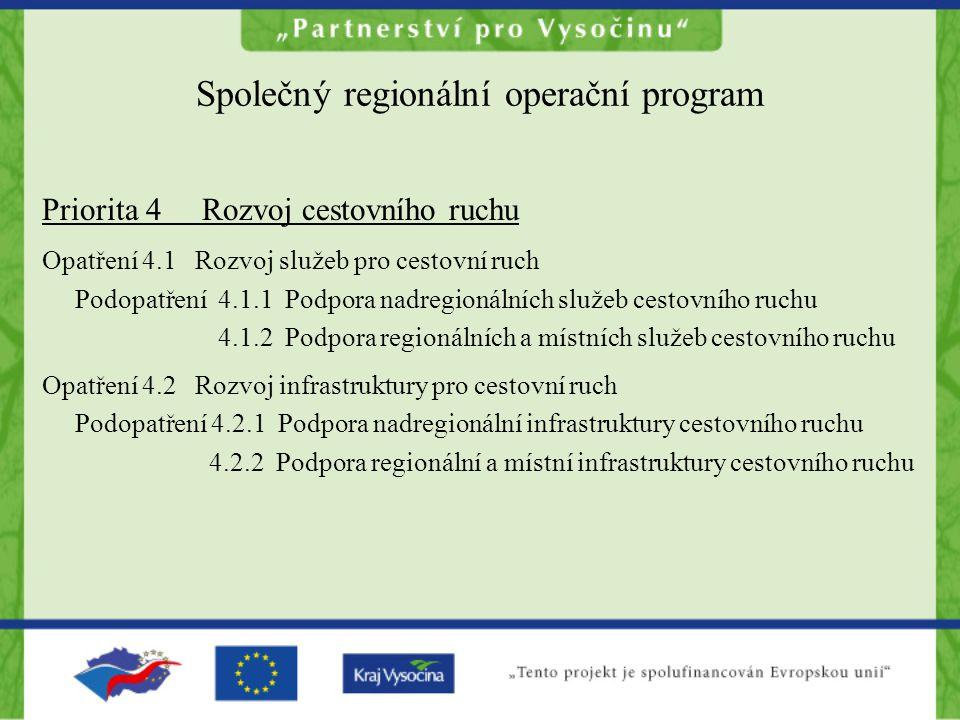 Společný regionální operační program Priorita 4 Rozvoj cestovního ruchu Opatření 4.1 Rozvoj služeb pro cestovní ruch Podopatření 4.1.1 Podpora nadregionálních služeb cestovního ruchu 4.1.2 Podpora regionálních a místních služeb cestovního ruchu Opatření 4.2 Rozvoj infrastruktury pro cestovní ruch Podopatření 4.2.1 Podpora nadregionální infrastruktury cestovního ruchu 4.2.2 Podpora regionální a místní infrastruktury cestovního ruchu