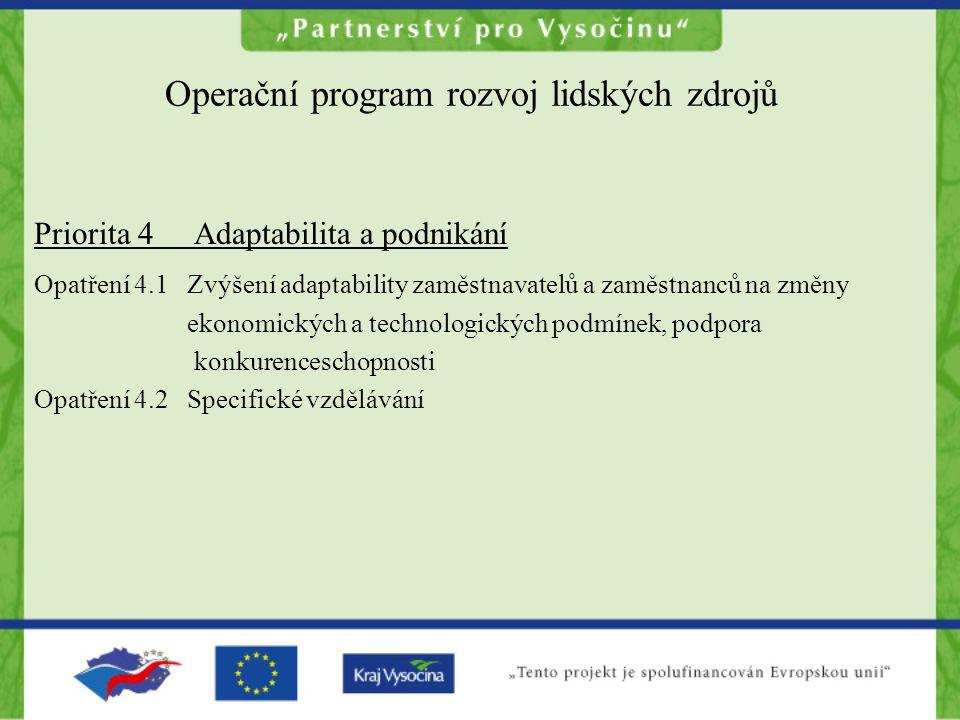 Operační program rozvoj lidských zdrojů Priorita 4 Adaptabilita a podnikání Opatření 4.1 Zvýšení adaptability zaměstnavatelů a zaměstnanců na změny ek