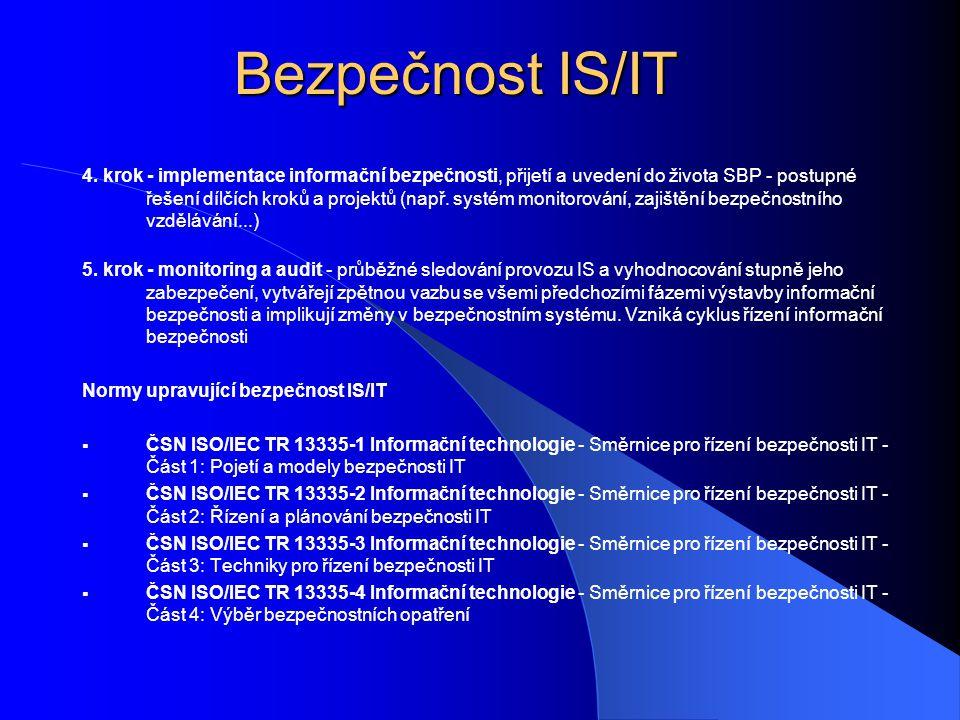 Bezpečnost IS/IT 4. krok - implementace informační bezpečnosti, přijetí a uvedení do života SBP - postupné řešení dílčích kroků a projektů (např. syst
