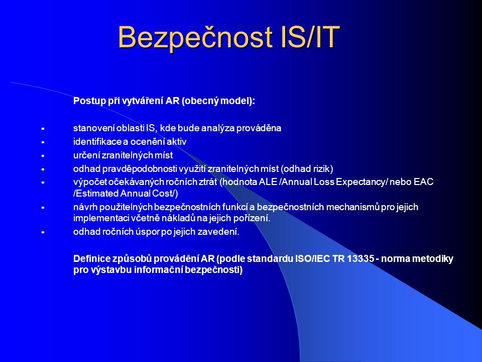Bezpečnost IS/IT Postup při vytváření AR (obecný model):  stanovení oblasti IS, kde bude analýza prováděna  identifikace a ocenění aktiv  určení zr