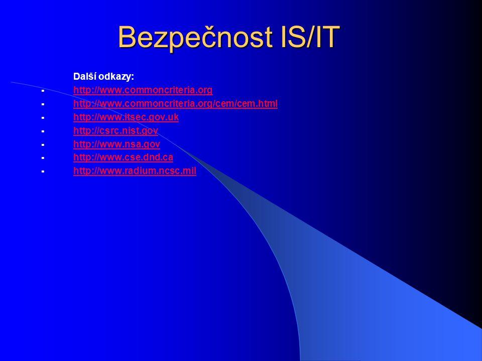 Bezpečnost IS/IT Další odkazy:  http://www.commoncriteria.org http://www.commoncriteria.org  http://www.commoncriteria.org/cem/cem.html http://www.c