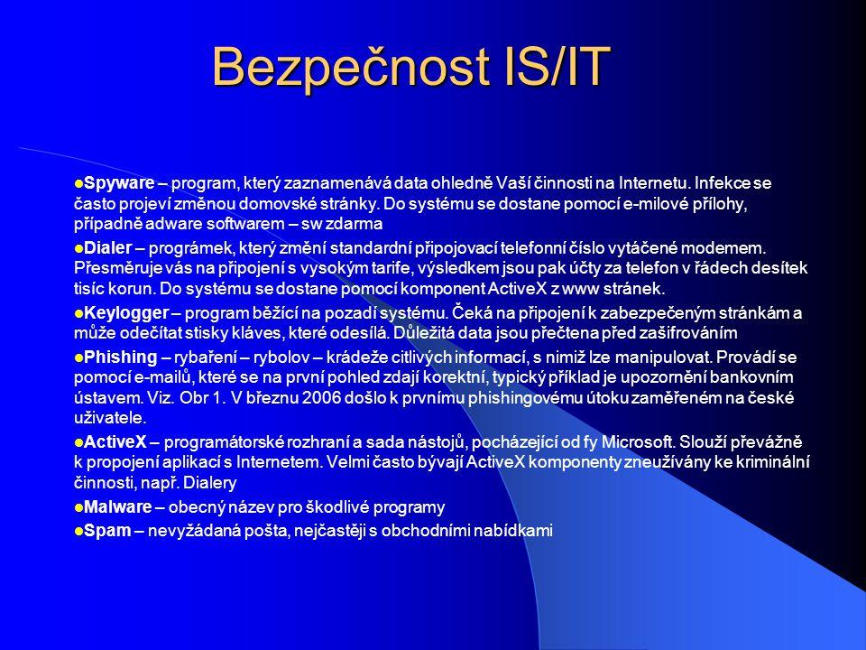 Bezpečnost IS/IT  Spyware – program, který zaznamenává data ohledně Vaší činnosti na Internetu. Infekce se často projeví změnou domovské stránky. Do
