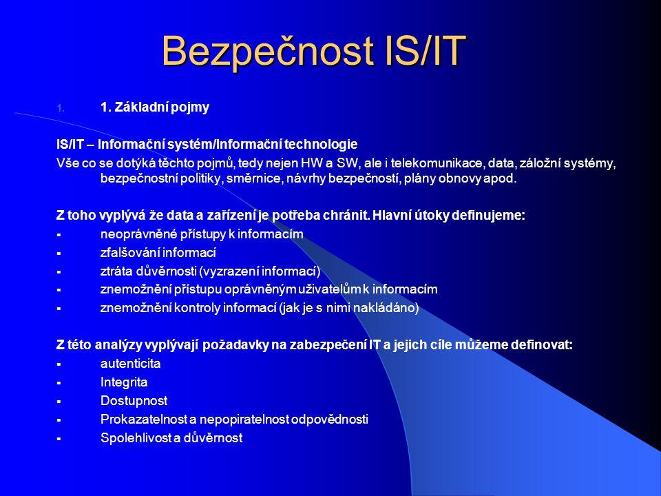 Bezpečnost IS/IT 1. 1. Základní pojmy IS/IT – Informační systém/Informační technologie Vše co se dotýká těchto pojmů, tedy nejen HW a SW, ale i teleko