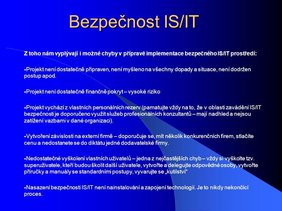 Bezpečnost IS/IT Z toho nám vyplývají i možné chyby v přípravě implementace bezpečného IS/IT prostředí:  Projekt není dostatečně připraven, není myšleno na všechny dopady a situace, není dodržen postup apod.