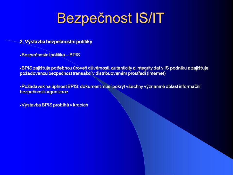 Bezpečnost IS/IT 2. Výstavba bezpečnostní politiky  Bezpečnostní politika – BPIS  BPIS zajišťuje potřebnou úroveň důvěrnosti, autenticity a integrit