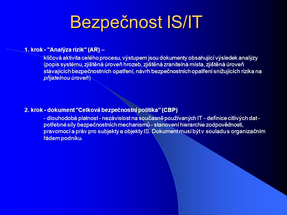 Bezpečnost IS/IT 3.