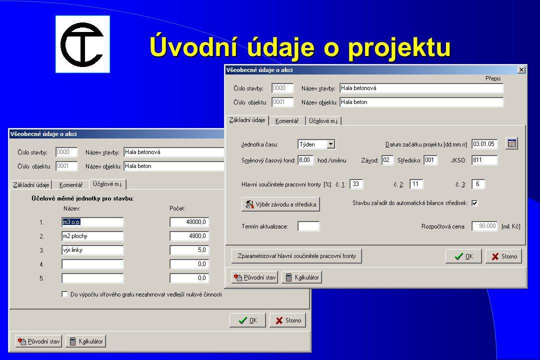 Příklad modelu postupu výstavby Hala betonová - 40 000 m 3 o. p. • 1500 m pilot • nosná konstrukce - mont. železobeton • začátek 1. 12. 2003 • lhůta v
