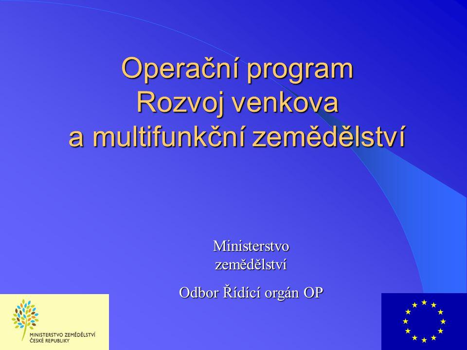 OP Zemědělství  Účel - podpora zemědělské prvovýroby a zpracování zemědělských produktů, podpora lesního a vodního hospodářství, a zajištění trvale udržitelného rozvoje venkova  Cíl - podpora trvalého hospodářského růstu i růstu kvality života obyvatel  Spolufinancování projektů - orientační sekce Evropského zemědělského orientačního a záručního fondu (EAGGF) a Finanční nástroj pro usměrňování rybolovu (FIFG) 2