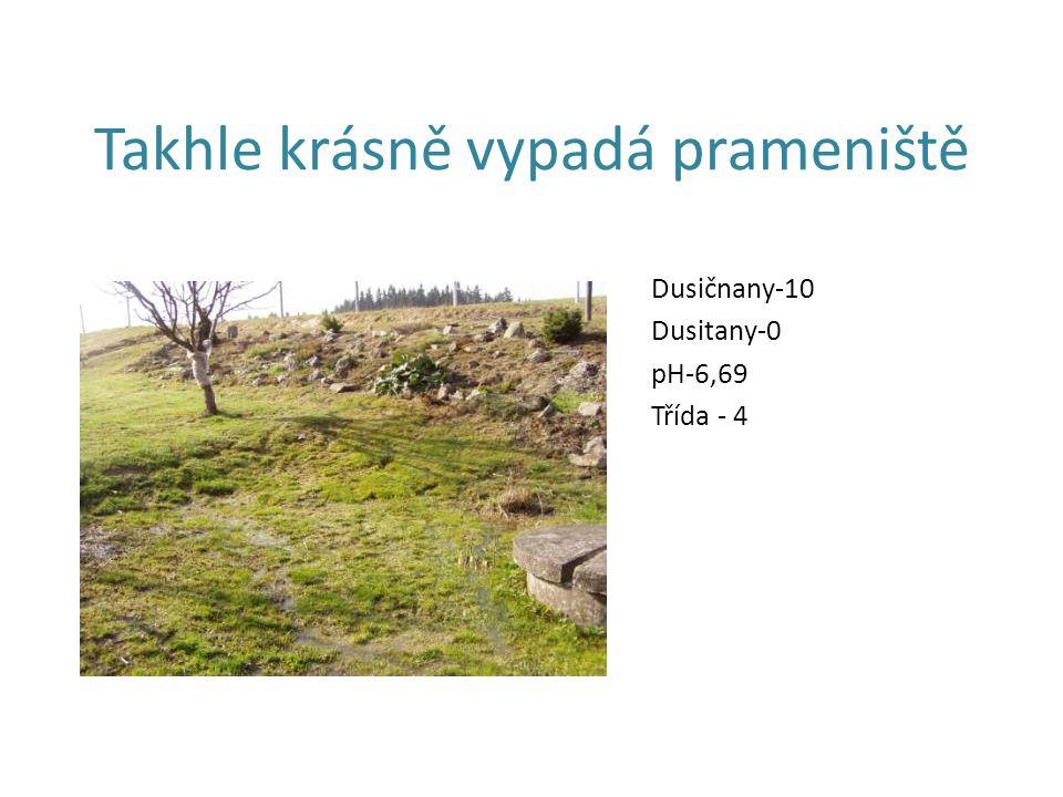 Takhle krásně vypadá prameniště Dusičnany-10 Dusitany-0 pH-6,69 Třída - 4