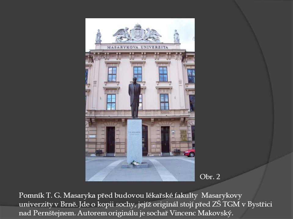 Pomník T.G. Masaryka před budovou lékařské fakulty Masarykovy univerzity v Brně.