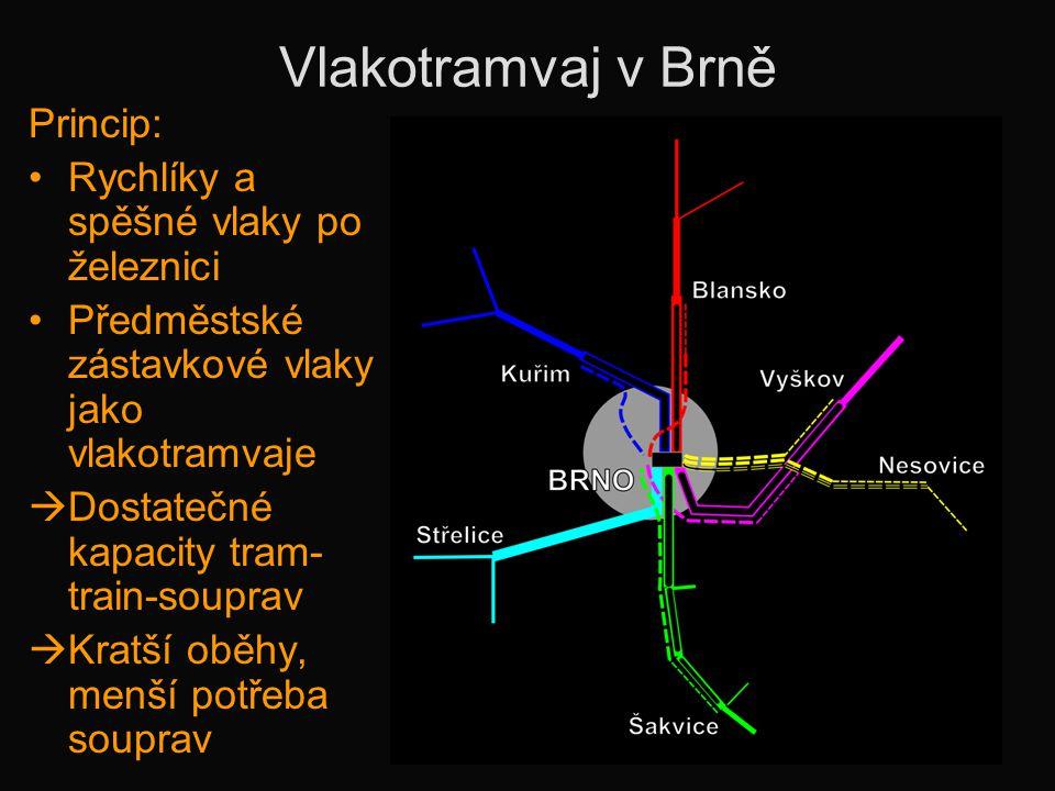 Vlakotramvaj v Brně Princip: •Rychlíky a spěšné vlaky po železnici •Předměstské zástavkové vlaky jako vlakotramvaje  Dostatečné kapacity tram- train-