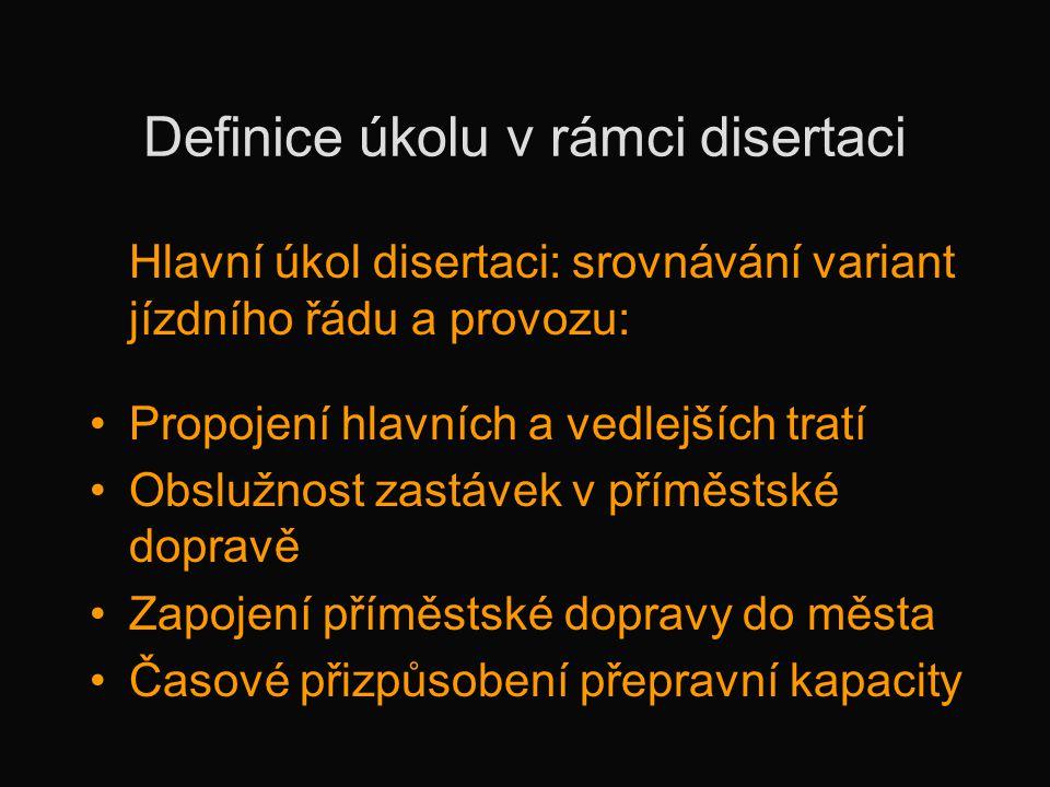 Definice úkolu v rámci disertaci Hlavní úkol disertaci: srovnávání variant jízdního řádu a provozu: •Propojení hlavních a vedlejších tratí •Obslužnost