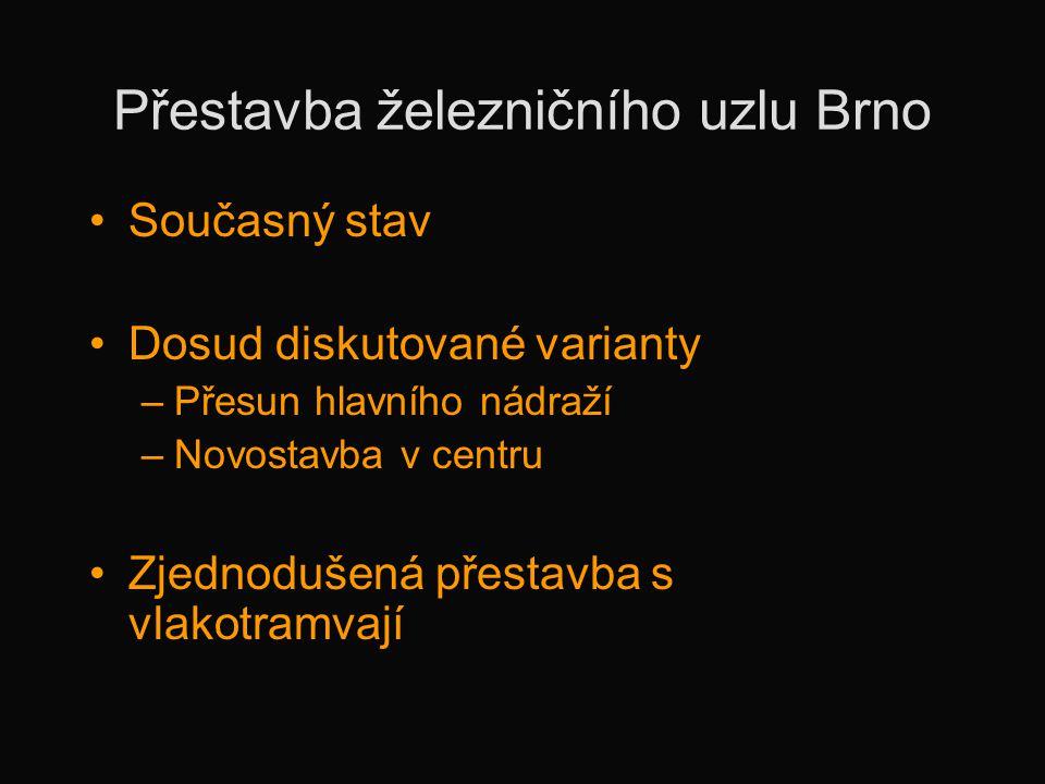 Přestavba železničního uzlu Brno •Současný stav •Dosud diskutované varianty –Přesun hlavního nádraží –Novostavba v centru •Zjednodušená přestavba s vl