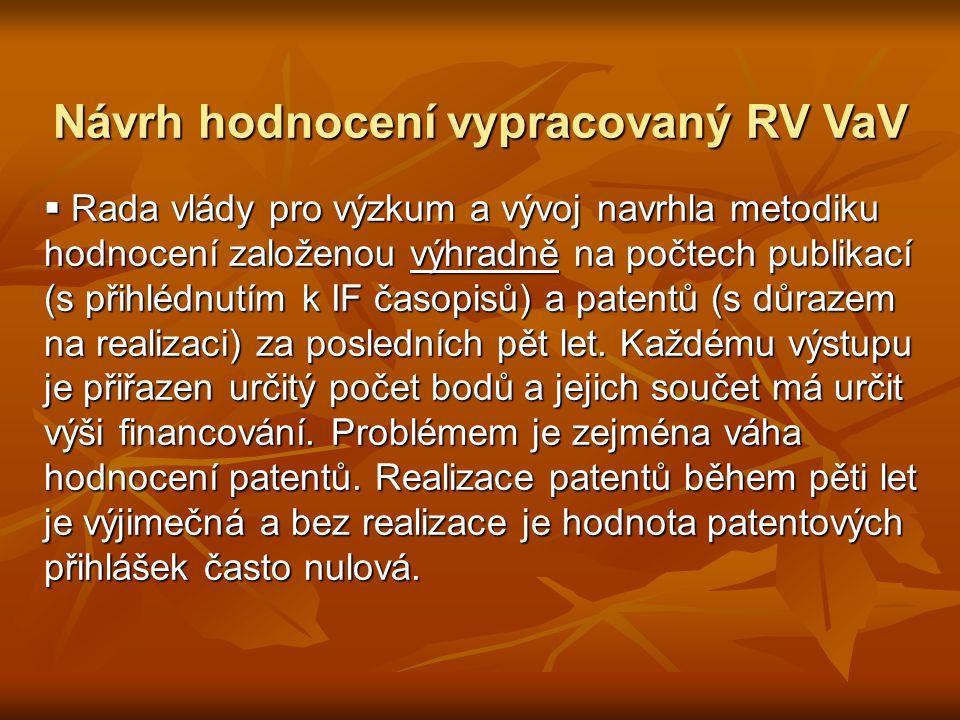 Návrh hodnocení vypracovaný RV VaV Návrh hodnocení vypracovaný RV VaV  Rada vlády pro výzkum a vývoj navrhla metodiku hodnocení založenou výhradně na počtech publikací (s přihlédnutím k IF časopisů) a patentů (s důrazem na realizaci) za posledních pět let.