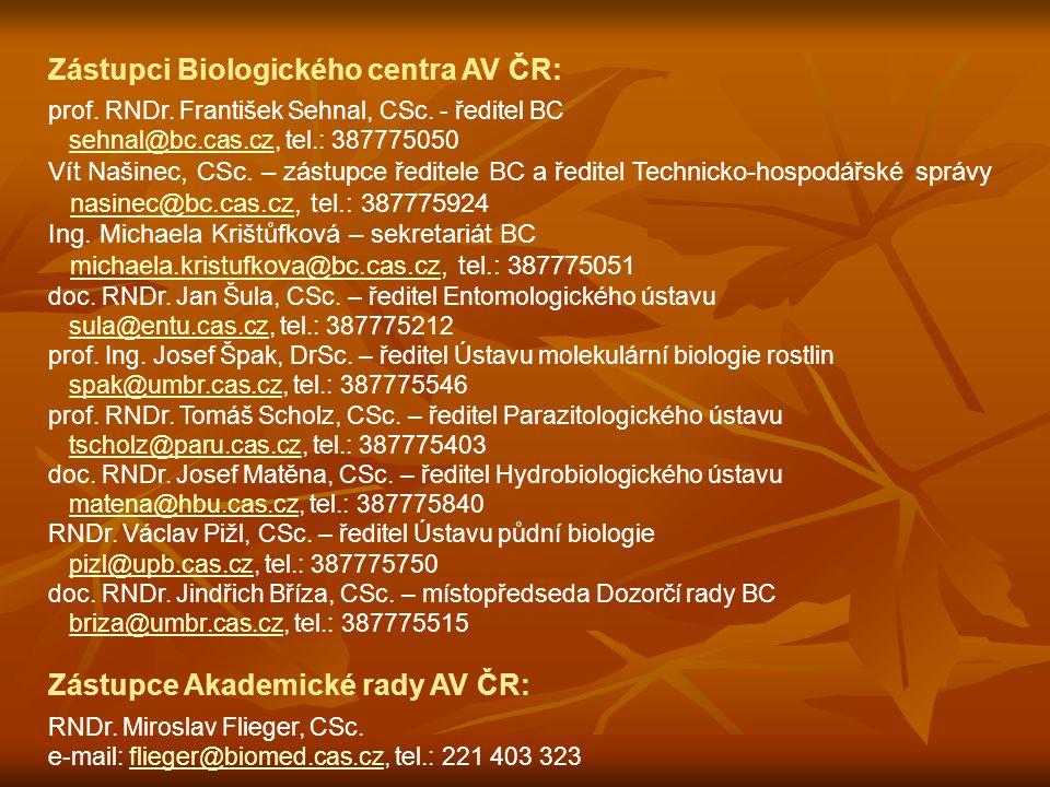 Zástupci Biologického centra AV ČR: prof. RNDr. František Sehnal, CSc.