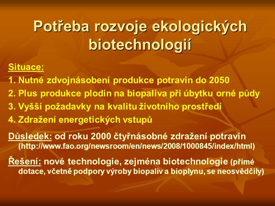 Potřeba rozvoje ekologických biotechnologií Situace: 1.