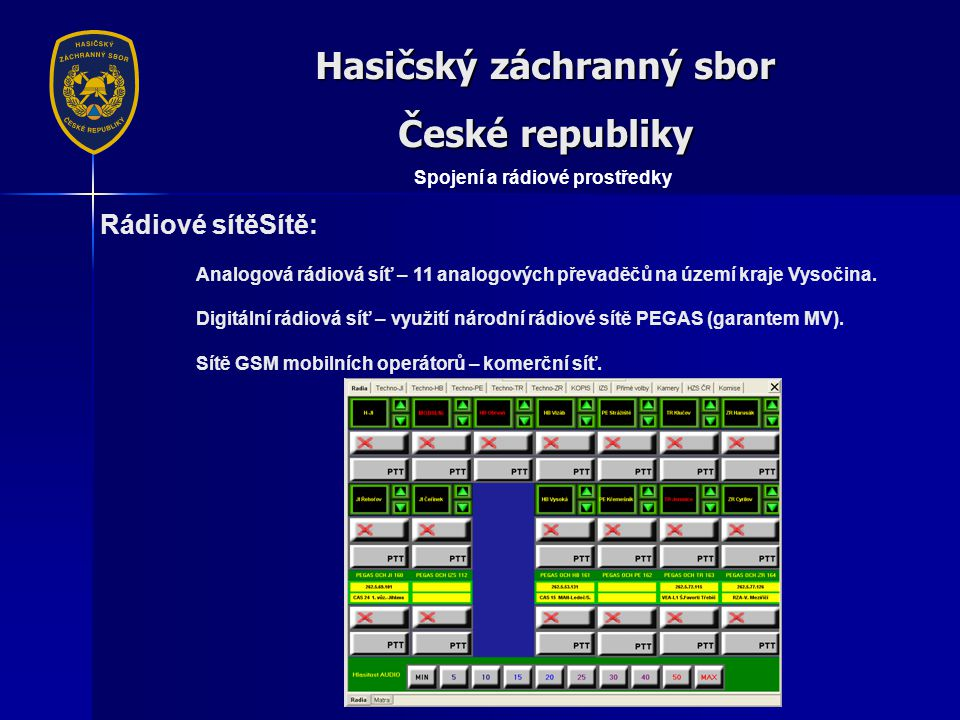 Hasičský záchranný sbor České republiky Spojení a rádiové prostředky Rádiové sítěSítě: Analogová rádiová síť – 11 analogových převaděčů na území kraje Vysočina.