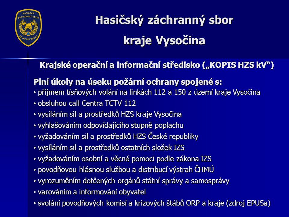 """Hasičský záchranný sbor kraje Vysočina Krajské operační a informační středisko (""""KOPIS HZS kV ) Plní úkoly na úseku požární ochrany spojené s: • příjmem tísňových volání na linkách 112 a 150 z území kraje Vysočina • obsluhou call Centra TCTV 112 • vysíláním sil a prostředků HZS kraje Vysočina • vyhlašováním odpovídajícího stupně poplachu • vyžadováním sil a prostředků HZS České republiky • vysíláním sil a prostředků ostatních složek IZS • vyžadováním osobní a věcné pomoci podle zákona IZS • povodňovou hlásnou službou a distribucí výstrah ČHMÚ • vyrozuměním dotčených orgánů státní správy a samosprávy • varováním a informování obyvatel • svolání povodňových komisí a krizových štábů ORP a kraje (zdroj EPUSa)"""