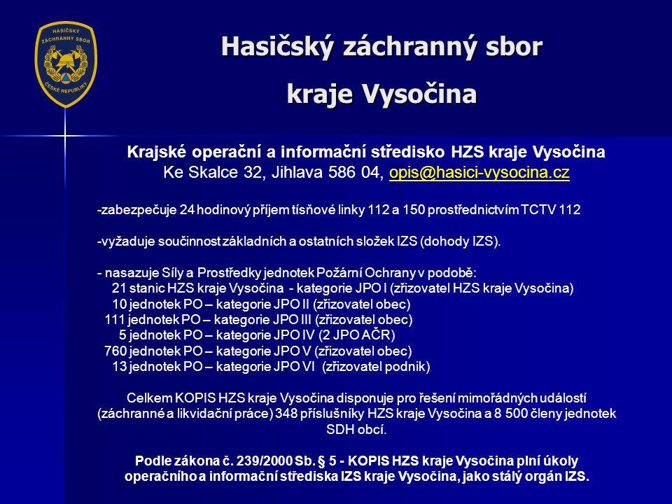 Hasičský záchranný sbor kraje Vysočina -zabezpečuje 24 hodinový příjem tísňové linky 112 a 150 prostřednictvím TCTV 112 -vyžaduje součinnost základních a ostatních složek IZS (dohody IZS).