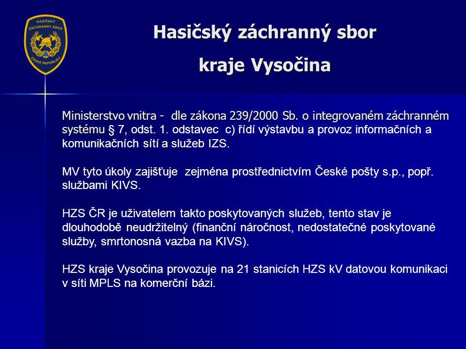Hasičský záchranný sbor kraje Vysočina Ministerstvo vnitra - dle zákona 239/2000 Sb.