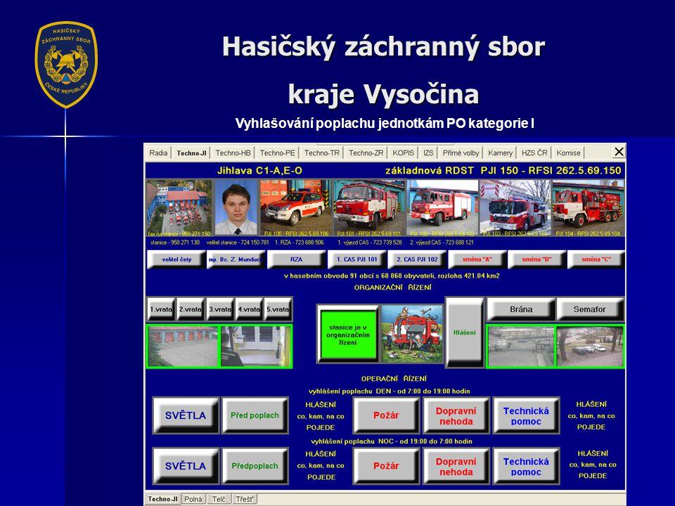 Hasičský záchranný sbor kraje Vysočina Vyhlašování poplachu jednotkám PO kategorie I